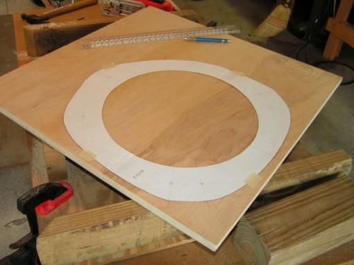 Ring cutout template on the plywood stock
